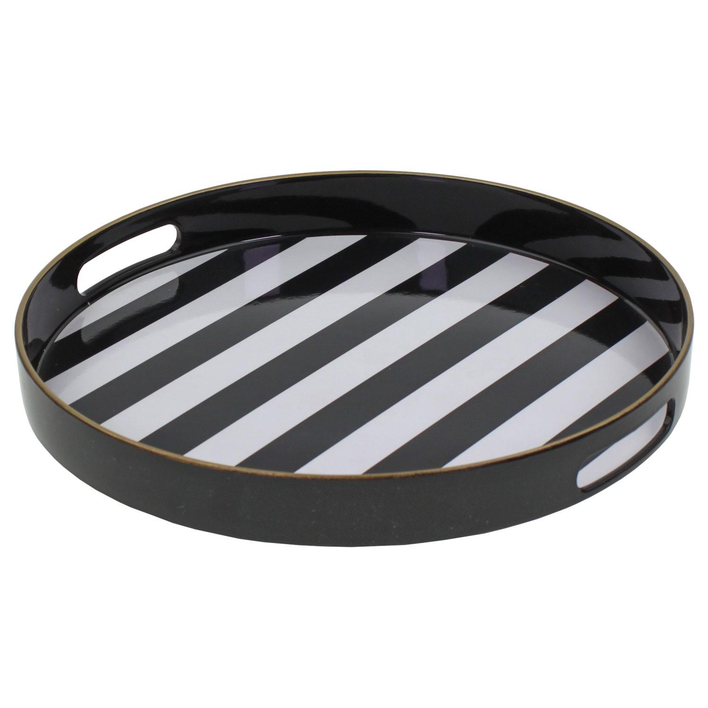 tablett rund favorite schwarz wei gestreift durchmesser 32 5cm. Black Bedroom Furniture Sets. Home Design Ideas